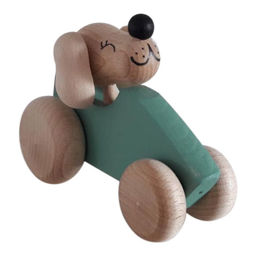 Wooden Dog in Car