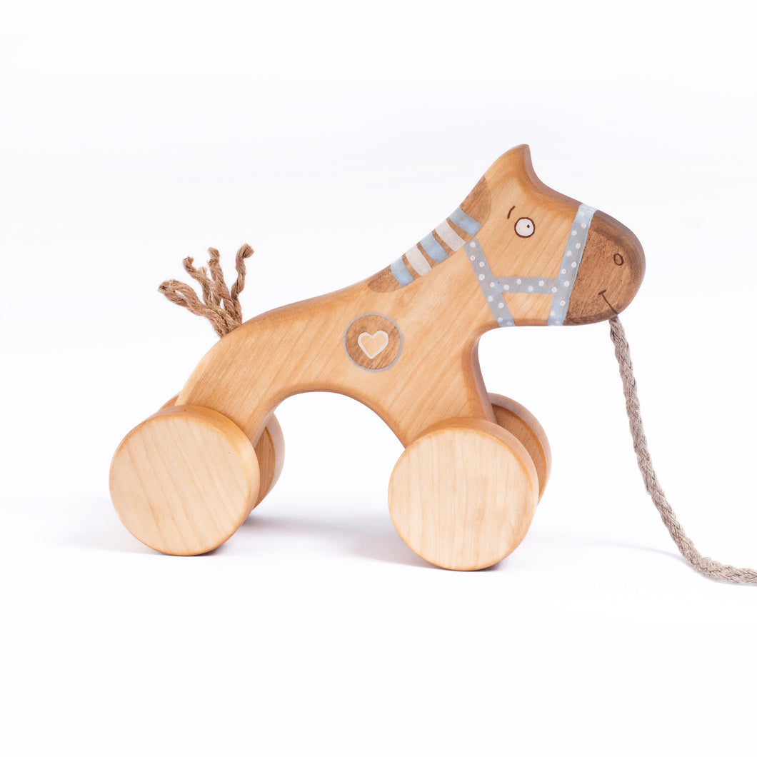 Wooden Pull Along Horse