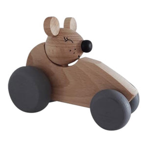 Wooden Mouse in Car