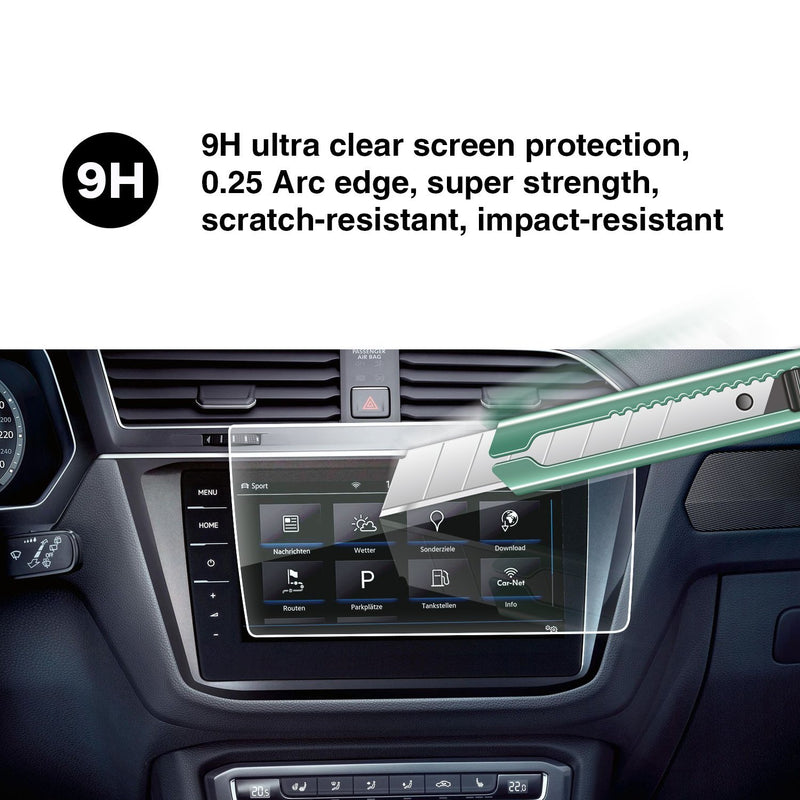 2017-2020 Volkswagen Tiguan Discovery Pro 9.2-Inch Touch Screen Car Display Navigation Screen Protector, HD Clear Tempered Glass Protective Film