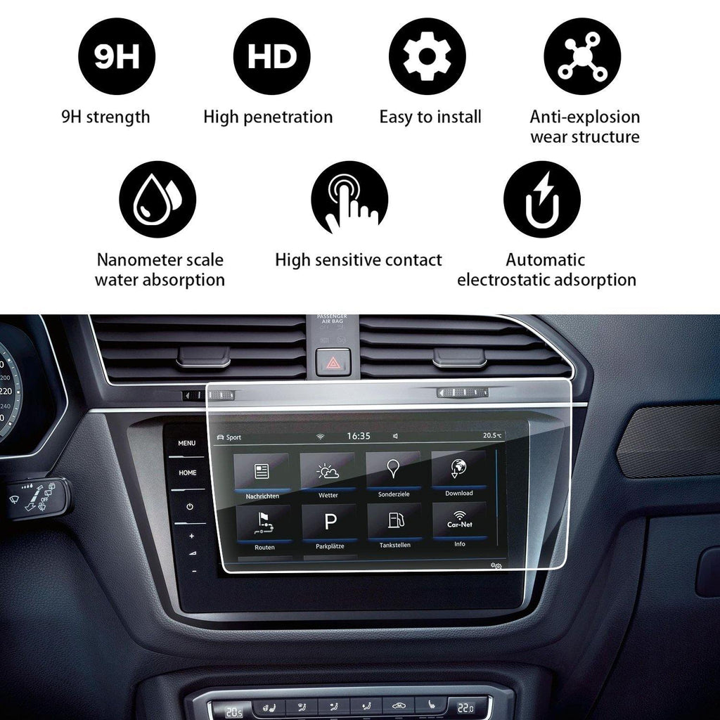 2017-2020 Volkswagen Tiguan Discovery Pro 9.2-Inch Touch Screen Car Display Navigation Screen Protector, HD Clear Tempered Glass Protective Film - LFOTPP