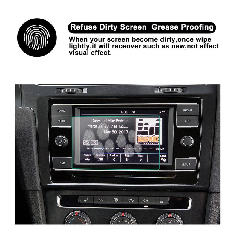 2018 VW Volkswagen GTI 6.5-inch Touch Screen,Display Navigation Screen Protector, HD Clear Tempered Glass Protective Film