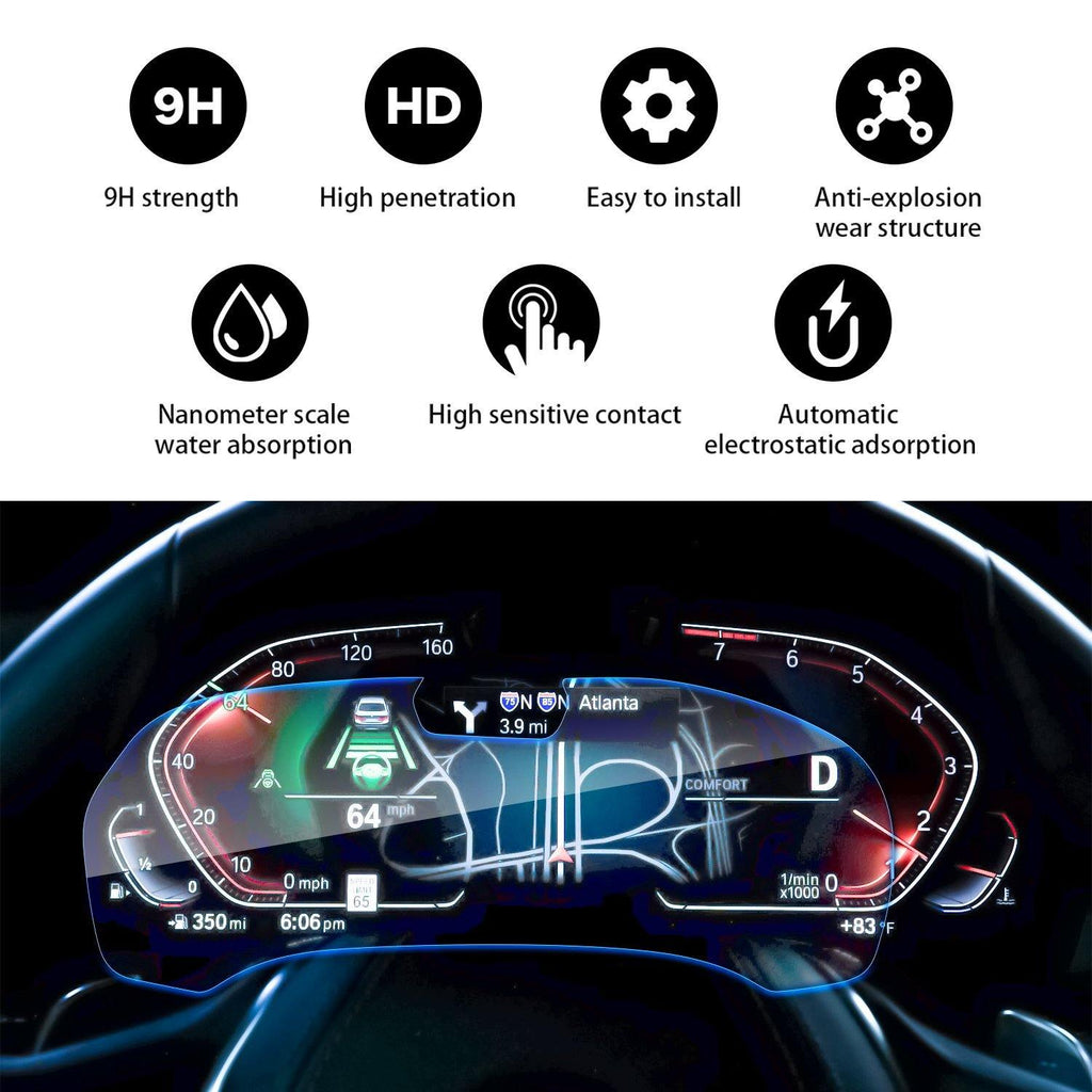 2019 BMW X7 G07 Instrument Membrane Dashboard Screen Tempered Glass Protector 12.3-Inch - LFOTPP