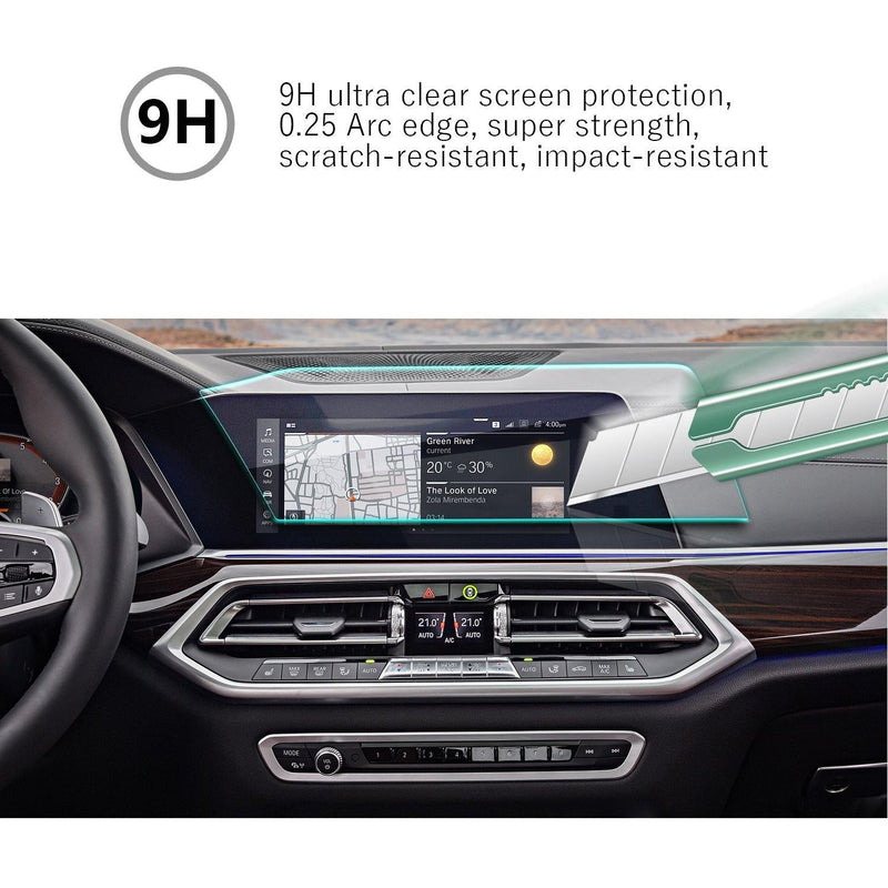 2019 BMW X7 Instrument and Navigation Screen Tempered Glass Protector 12.3-Inch (Left-hand Drive) - LFOTPP