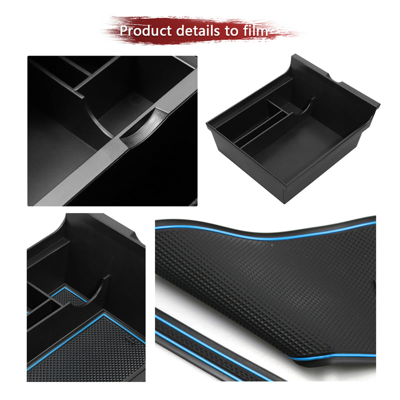 LFOTPP Center Console Organizer Tray Compatible with 2021 Tesla Model Y Model 3 Flocked Armrest Hidden Cubby Drawer Storage Box ABS Material for Tesla Model 3 Accessories (Blue)-lfotpp-auto-parts.myshopify.com