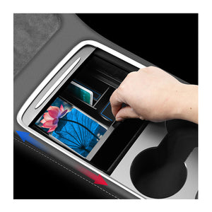 LFOTPP Center Console Organizer Tray 2021 Tesla Model Y Model 3 Flocked Armrest Hidden Cubby Drawer Storage Box ABS Material for Tesla Model 3 Accessories (Blue) -lfotpp-auto-parts.myshopify.com