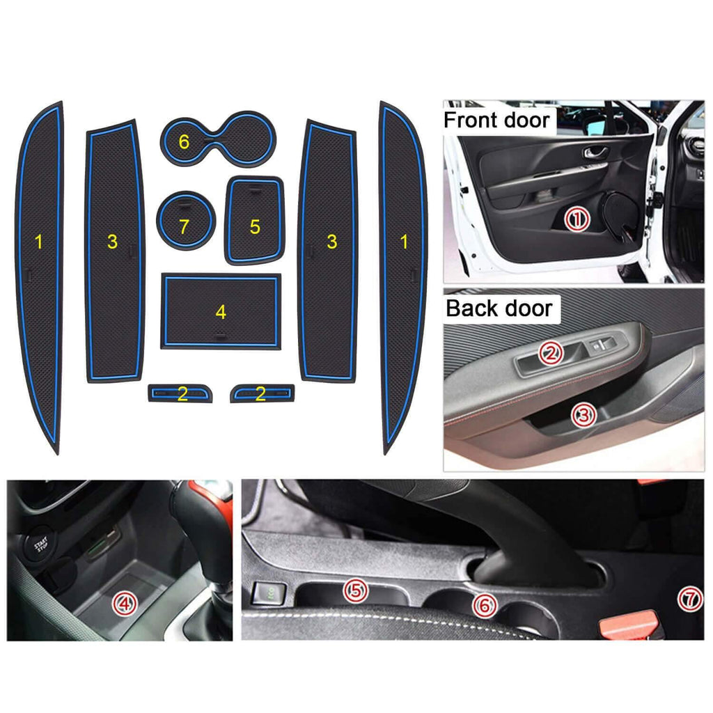 R RUIYA Car Door Slot Mat 2013-2018 Renault CLIO 4 Gate Slot Mat Cup Pads Center Console Liner Accessories Anti Slip-lfotpp-auto-parts.myshopify.com
