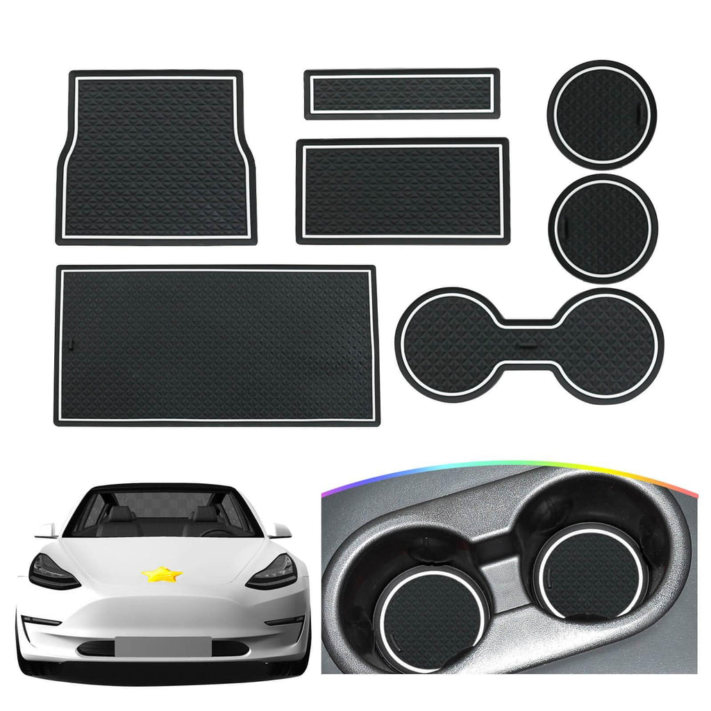 R RUIYA Cup Holder Mats: Custom Fit for 2018-2021 Tesla Model 3 Center Console Liner Interior Accessories Car Door Slot Mat [Available in four colors]-lfotpp-auto-parts.myshopify.com