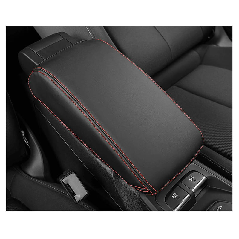 SHAOHAO 2018-2021 Audi Q2 Arm Rest Lid Pad Console Protection [Black-Leather redline 2 Elastic bandage]-lfotpp-auto-parts.myshopify.com
