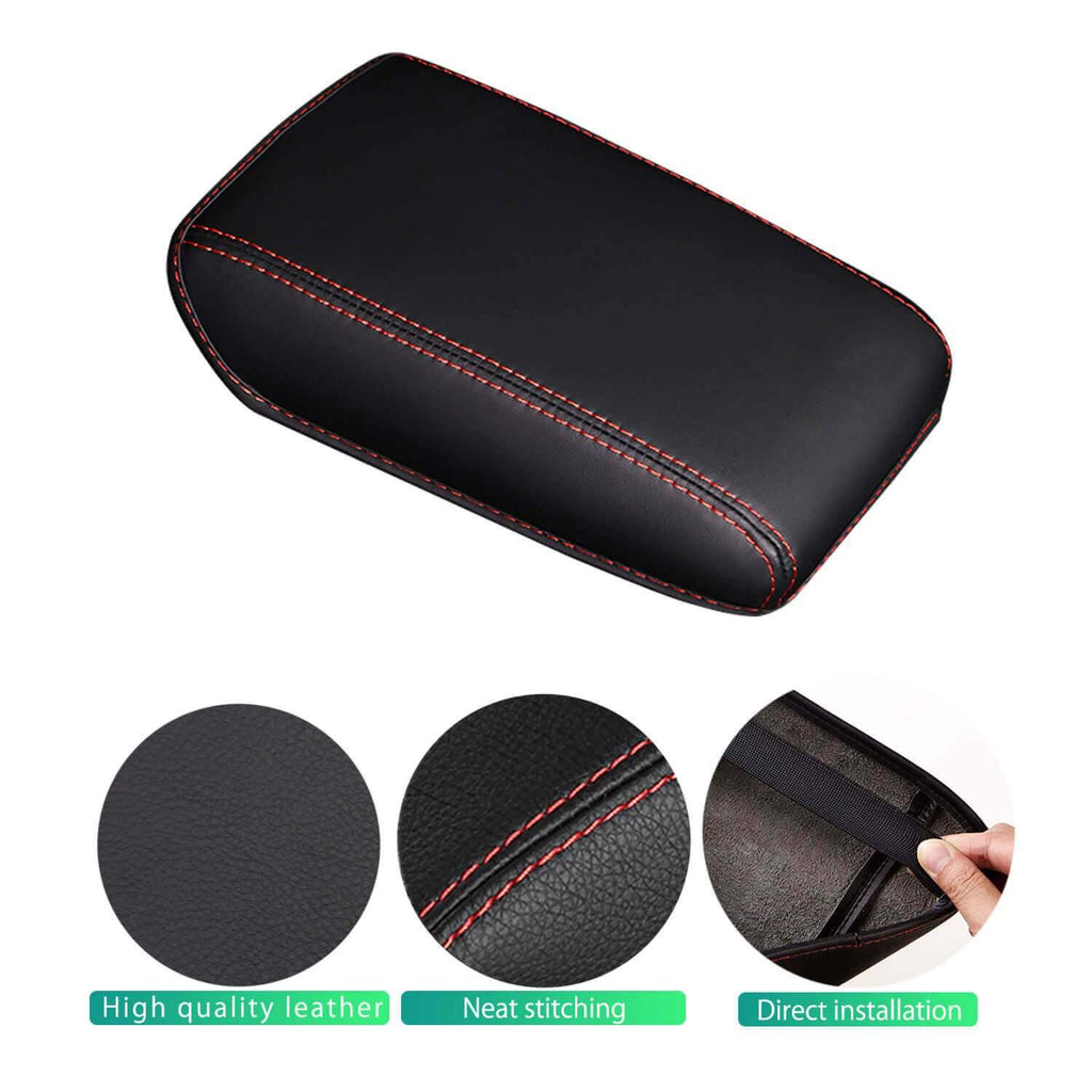 SHAOHAO Car Armrest Cover Console Lid Cover for Audi A4 B9 8W 2017-2021 [Black-Leather redline 2 Elastic bandage]-lfotpp-auto-parts.myshopify.com