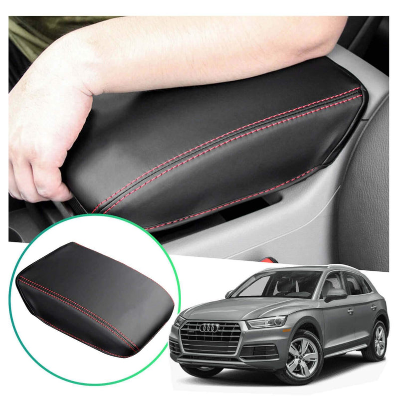 SHAOHAO Car Armrest Cover for Audi Q5L/Audi Q5 FY Arm Rest Lid Pad Console Protection [Black-Leather redline 2 Elastic bandage]-lfotpp-auto-parts.myshopify.com