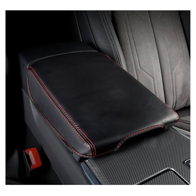 SHAOHAO Center Console Cover Armrest Pad Cover  for 2020-2021 Audi A6 C8/4K, Arm Rest Lid Cover Console Pad Scratch Resistance (Black-leather redline 2 bandage)-lfotpp-auto-parts.myshopify.com