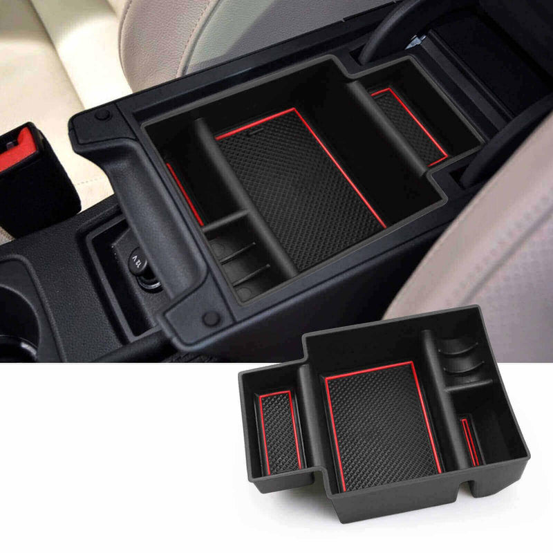 SKTU 2012-2021 SEAT Leon MK3 Center Console Accessory Organizer with 3 red cushion-lfotpp-auto-parts.myshopify.com