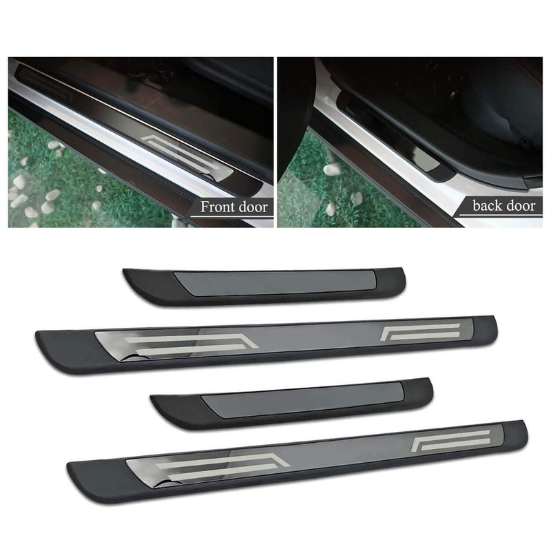 YEE PIN Car Threshold SEAT Tarraco 2019-2021/Skoda Kodiaq RS 2016-2021 Door Sill Protection [Stainless, No logo, and black titanium]-lfotpp-auto-parts.myshopify.com