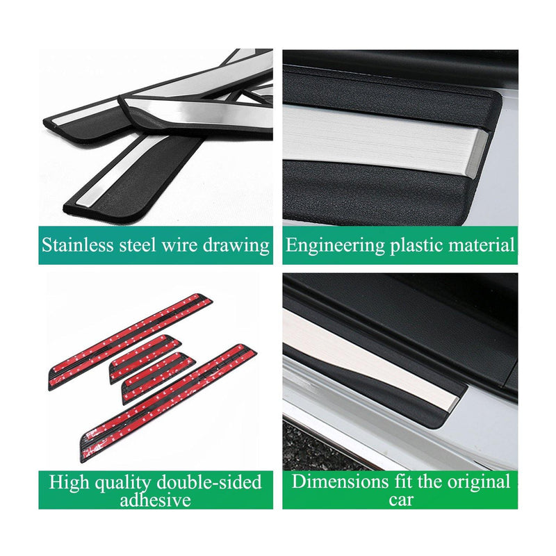 Accessories for Honda Accord Door-Sill-Protector-Trim-for-Accord-Clarity-Insight-Passport-Pilot Accessories Door Entry Guard Stainless Steel - LFOTPP