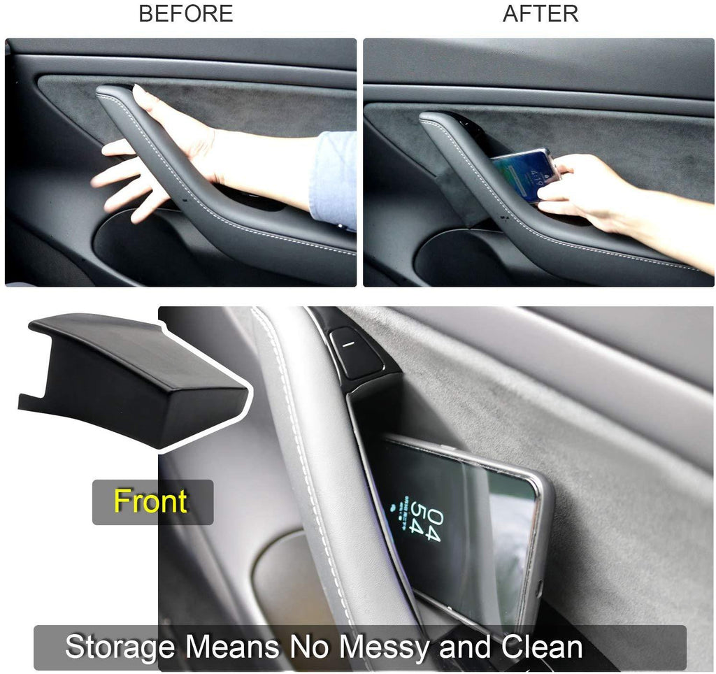 Tesla Model 3 Car Side Door Storage Pallets Armrest Container Box Cover Kit Trim Handle Pocket Armrest Phone Container For Model 3 2018 2019 - LFOTPP