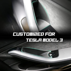 Tesla Model 3 Car Side Door Aufbewahrungspaletten Armlehne Container Box Cover Kit Trim Griff Tasche Armlehne Telefon Container Für Modell 3 2018 2019 - LFOTPP