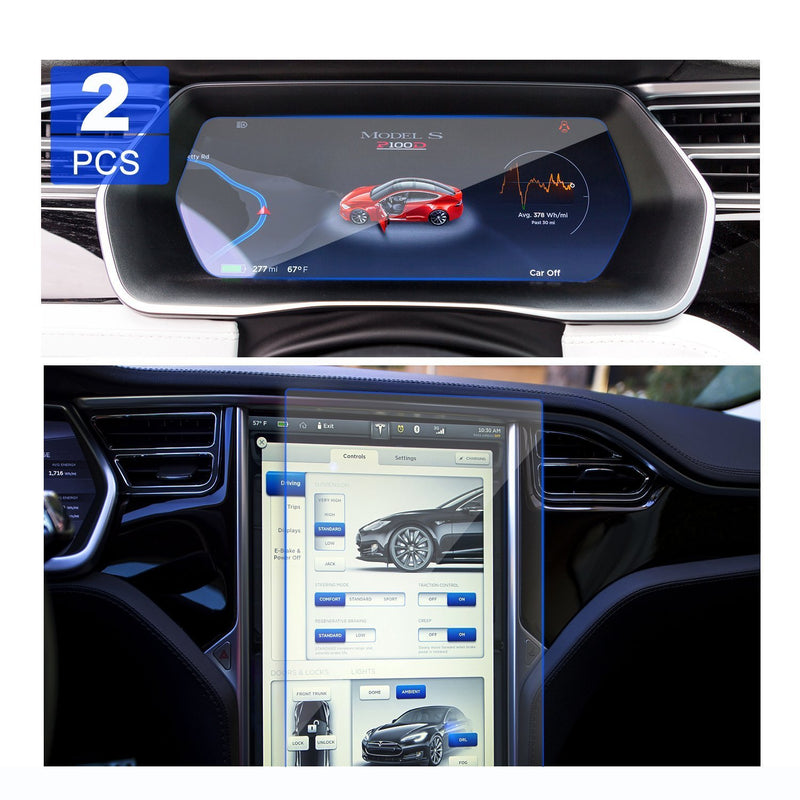 Tesla Model X/Model S 17 inches Car Navigation Screen Protector and Dash Panel Screen Protector (2PCS Glass)