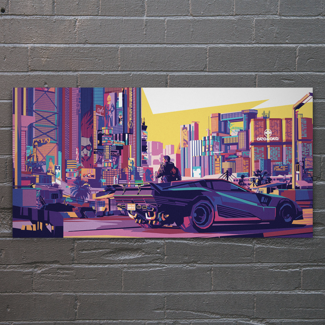 Cyberpunk 2077 Night City Metal Print (Signed and Numbered)