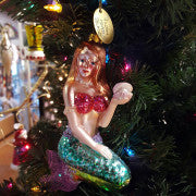 Hand - Blown Glass Mermaid Ornament