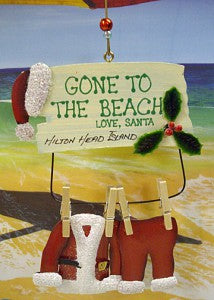 Gone To The Beach Hanging Santa's Clothes Ornament