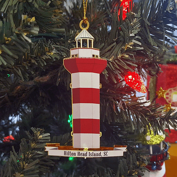 Exclusive Harbour Town Lighthouse Metal Hilton Head Ornament