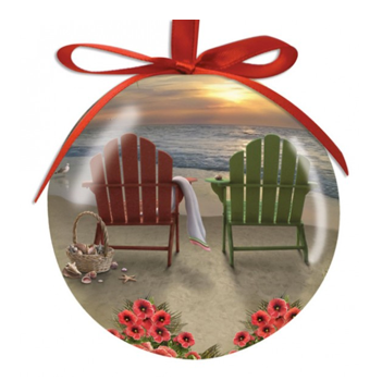 Hilton Head Ornament Adirondack Chairs Sunset