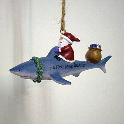 Santa On Shark Hilton Head Ornament
