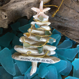 Faux Driftwood Tree with Sea Glass