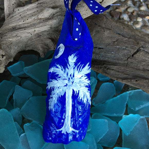 Hand-painted South Carolina Palm and Moon Oyster Ornament