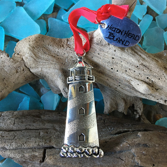 Cast Metal Lighthouse Ornament