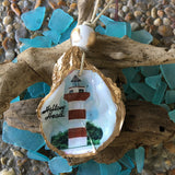 Hand Crafted Light House Oyster Shell ornament