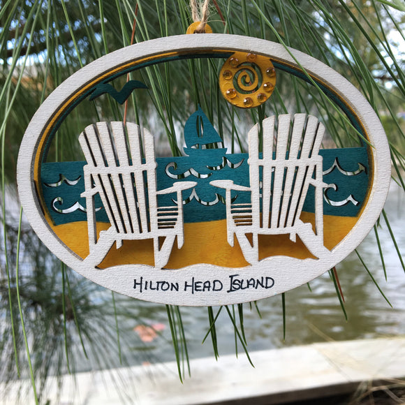 Laser Cut Wood Ornament Beach Chairs
