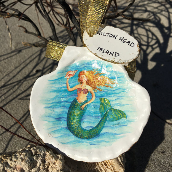 Hilton Head Scallop Shell with Mermaid Ornament