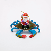Hilton Head Island Blue Crab with Santa Ornament