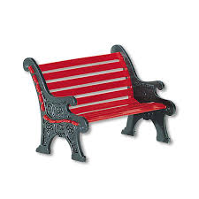 Department 56 Accessory Red Wrought Iron Park Bench