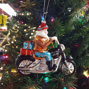 Christmas Santa on Motorcycle Glass Hilton Head Ornament