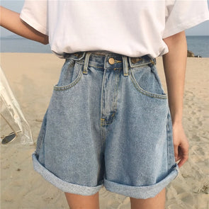 PLAIN DENIM SHORTS