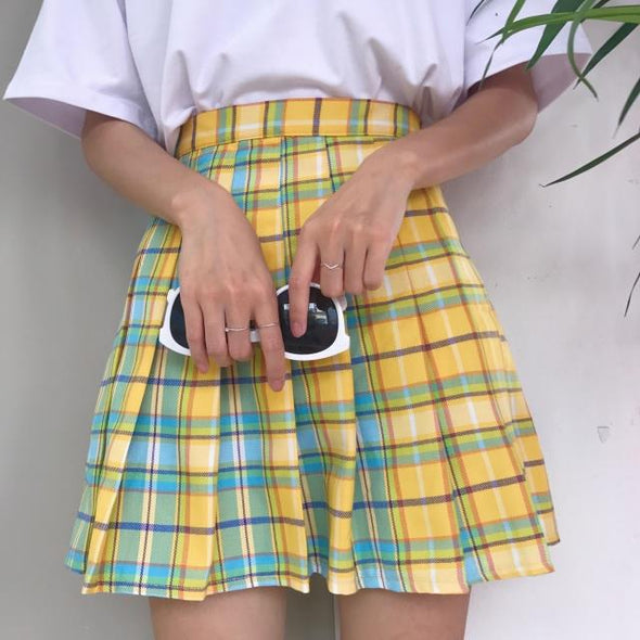 RAINBOW PLAID SKIRT