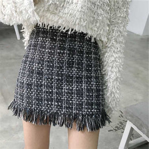 WOOLY PLAID SKIRT