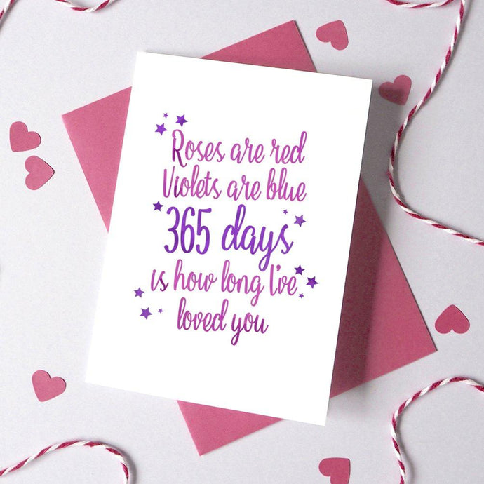 Personalised Roses are Red Days Card