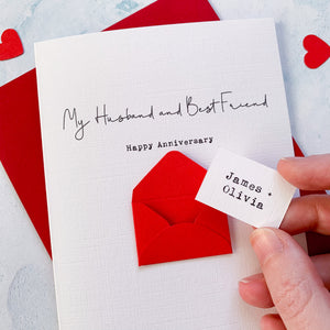 Personalised Husband/Wife Best Friend Envelope Card