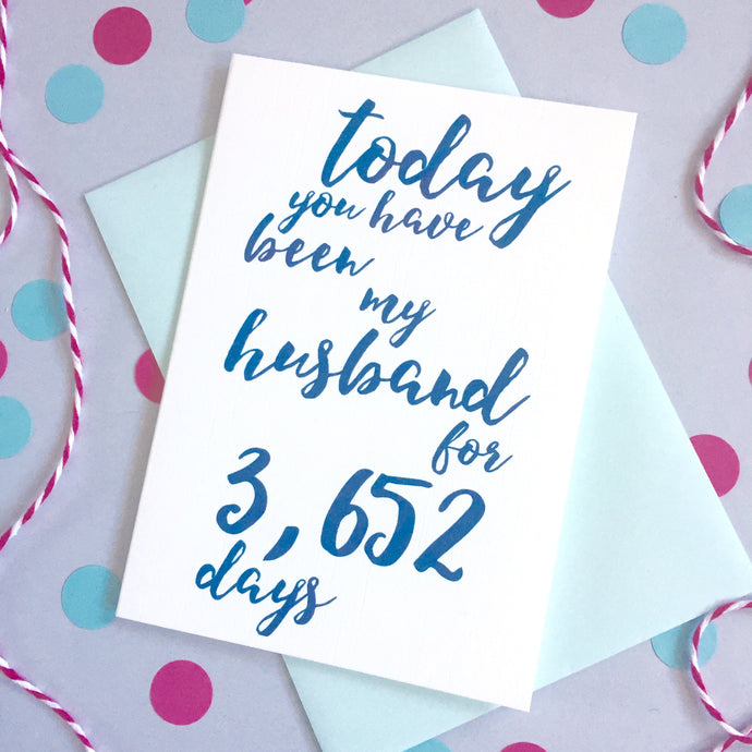 Personalised Days Husband Calligraphy Card