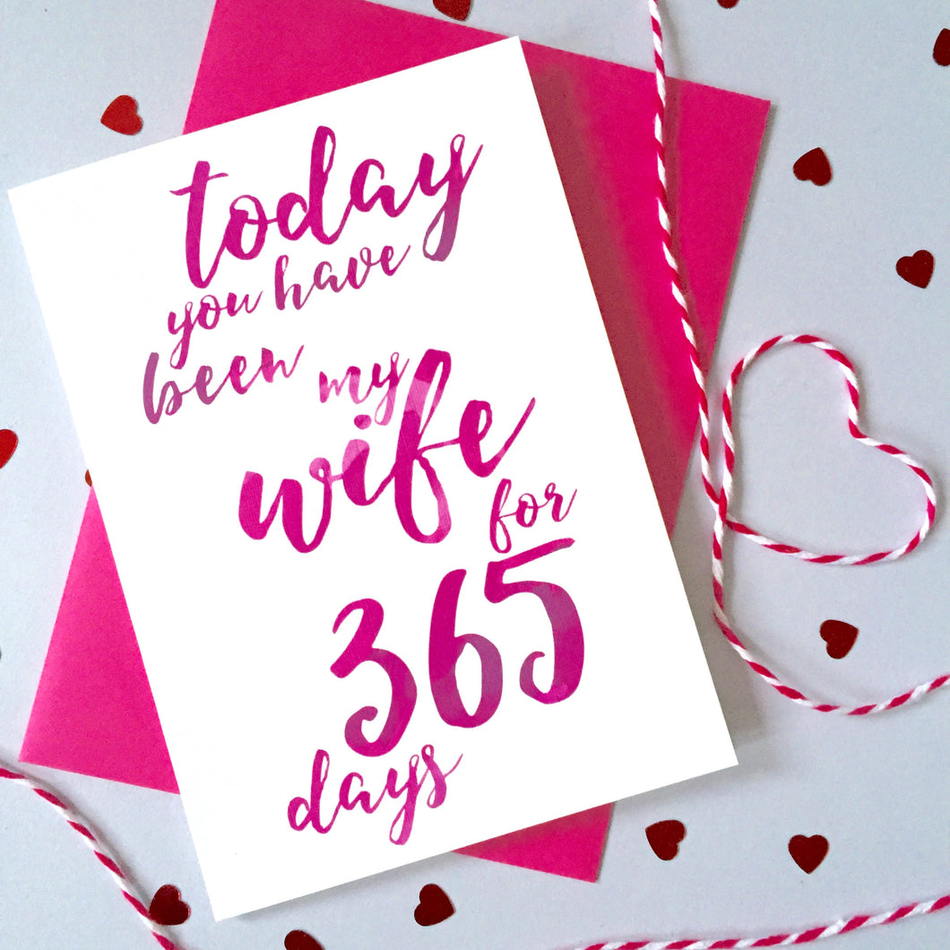Personalised Days Wife Calligraphy Card