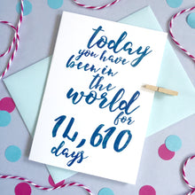 Load image into Gallery viewer, Personalised Days Birthday Calligraphy Card