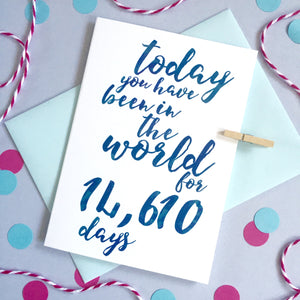 Personalised Days Birthday Calligraphy Card