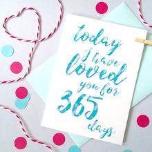Load image into Gallery viewer, Personalised Days I've Loved You Calligraphy Card