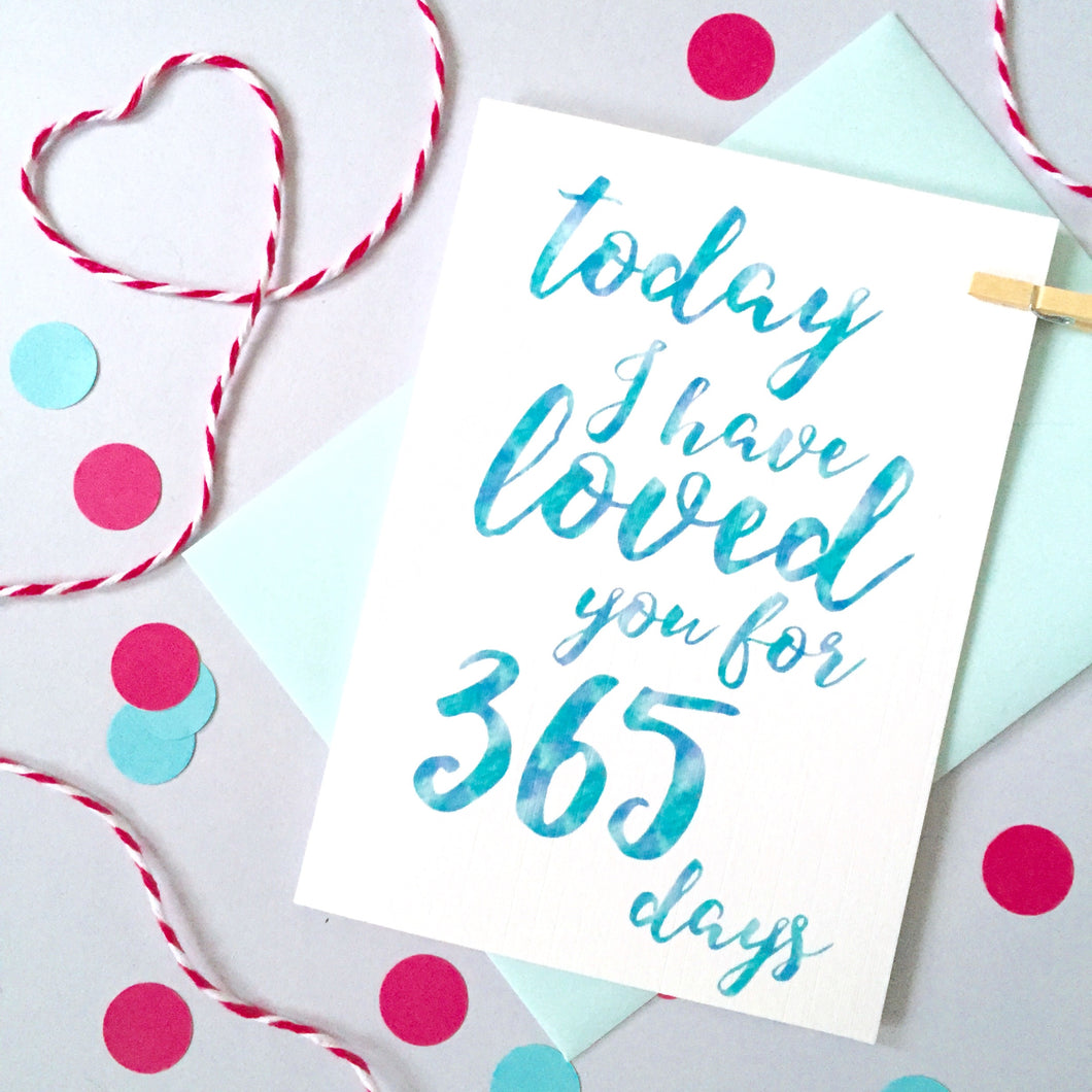 Personalised Days I've Loved You Calligraphy Card
