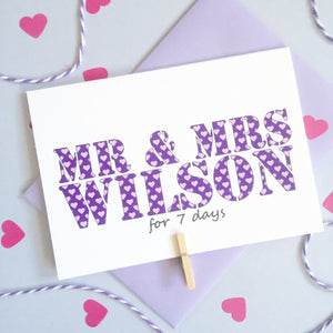 Personalised Wedding Anniversary Days Card