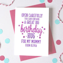 Load image into Gallery viewer, Personalised Hug for Mummy/Daddy Birthday Card